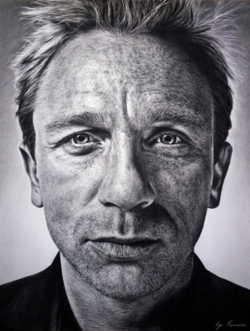 Daniel Craig. Pencil drawings by Natasha Kinaru