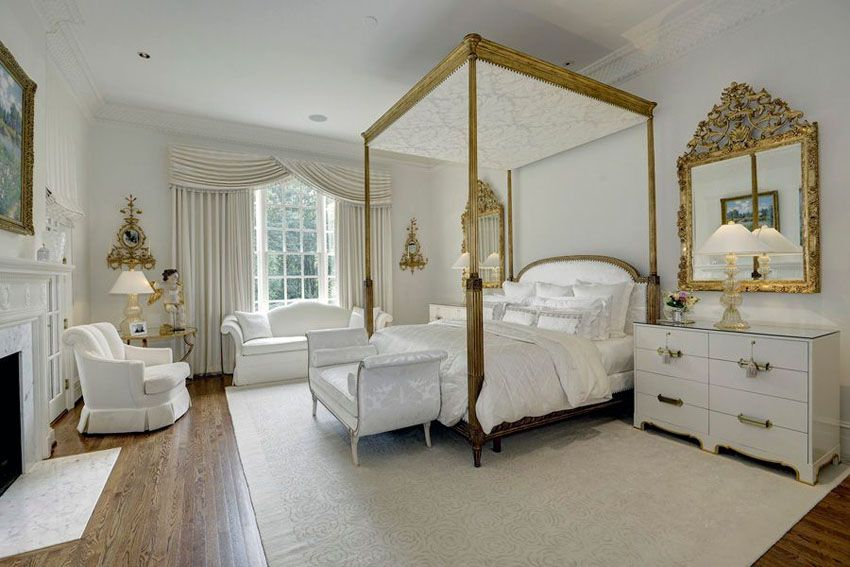 White Bedroom with Gold Touched Furniture