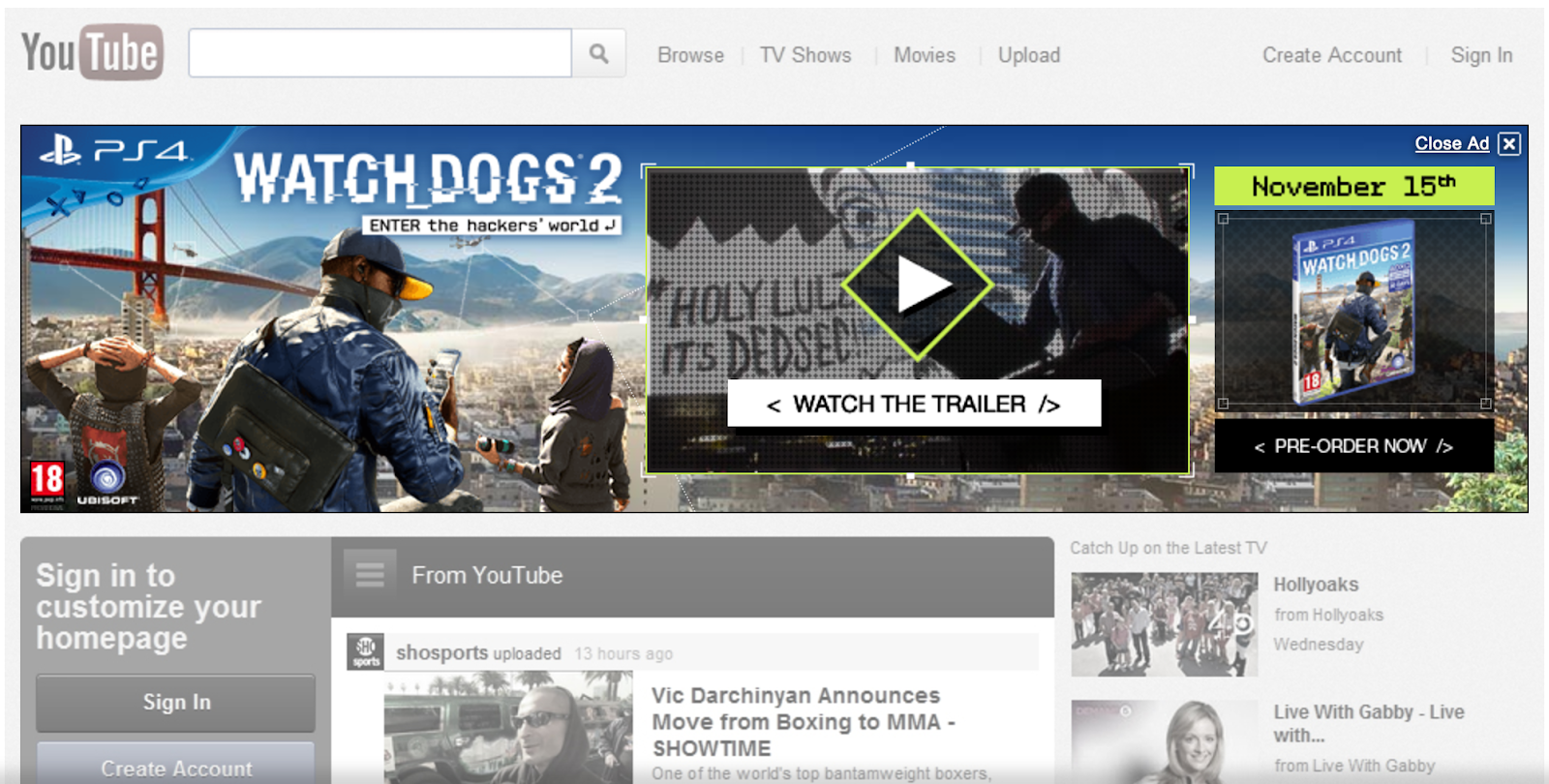 YouTube Masthead Example