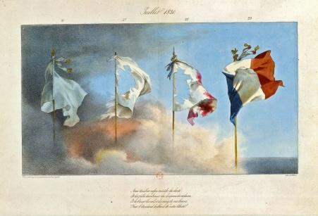 Litografia de 1830 que mostra a transformação da bandeira francesa.