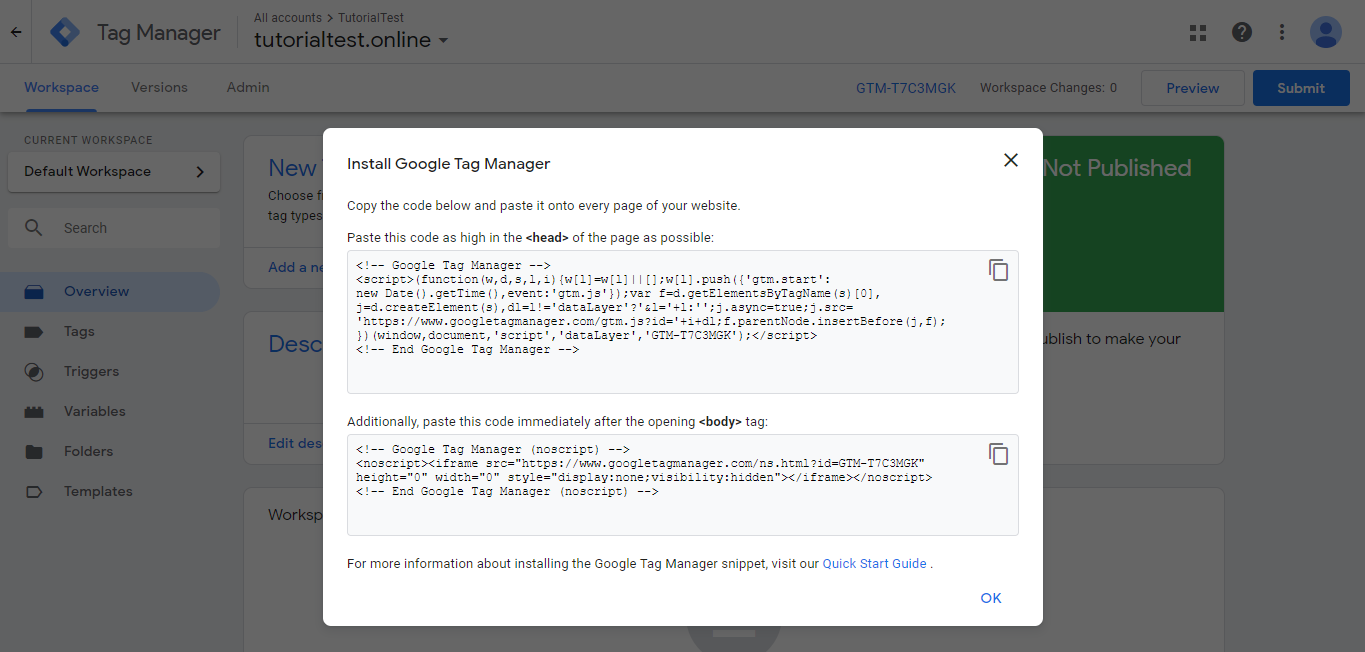 Kode tracking Tag Manager