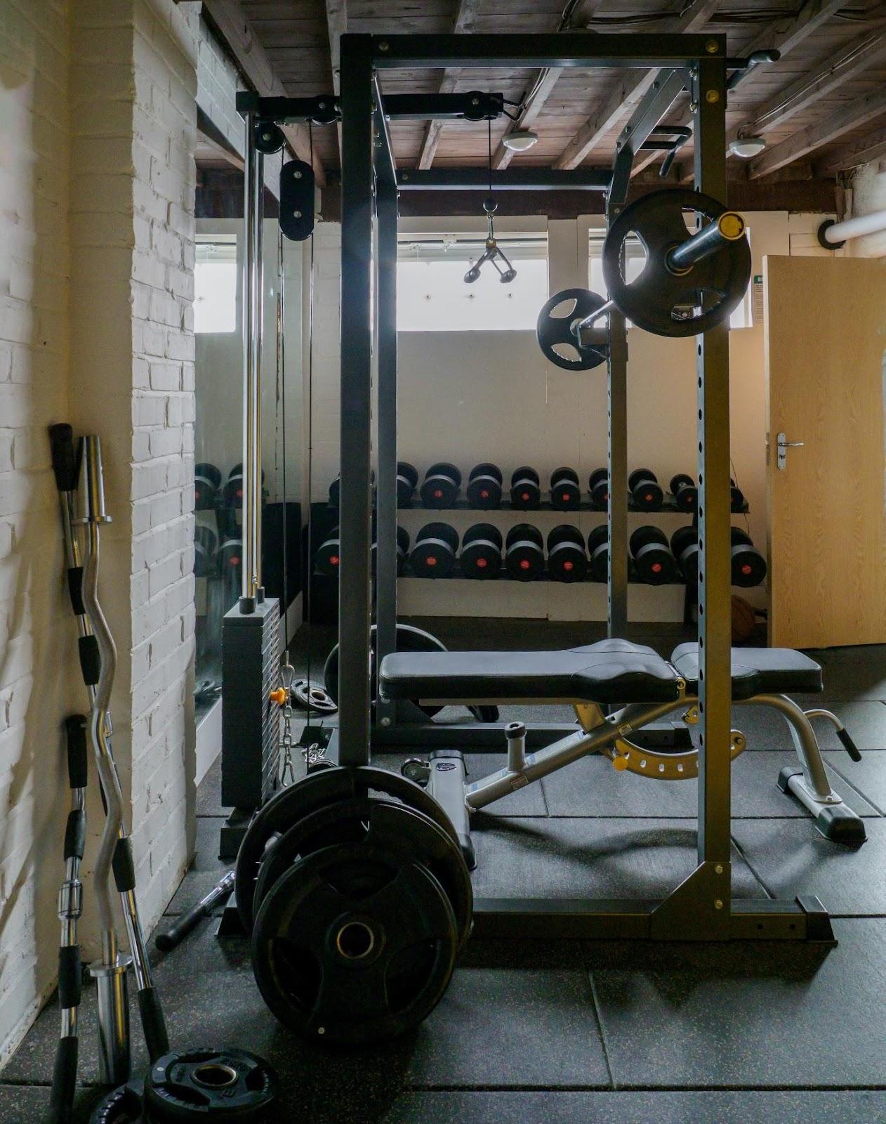 A close up of a home gym