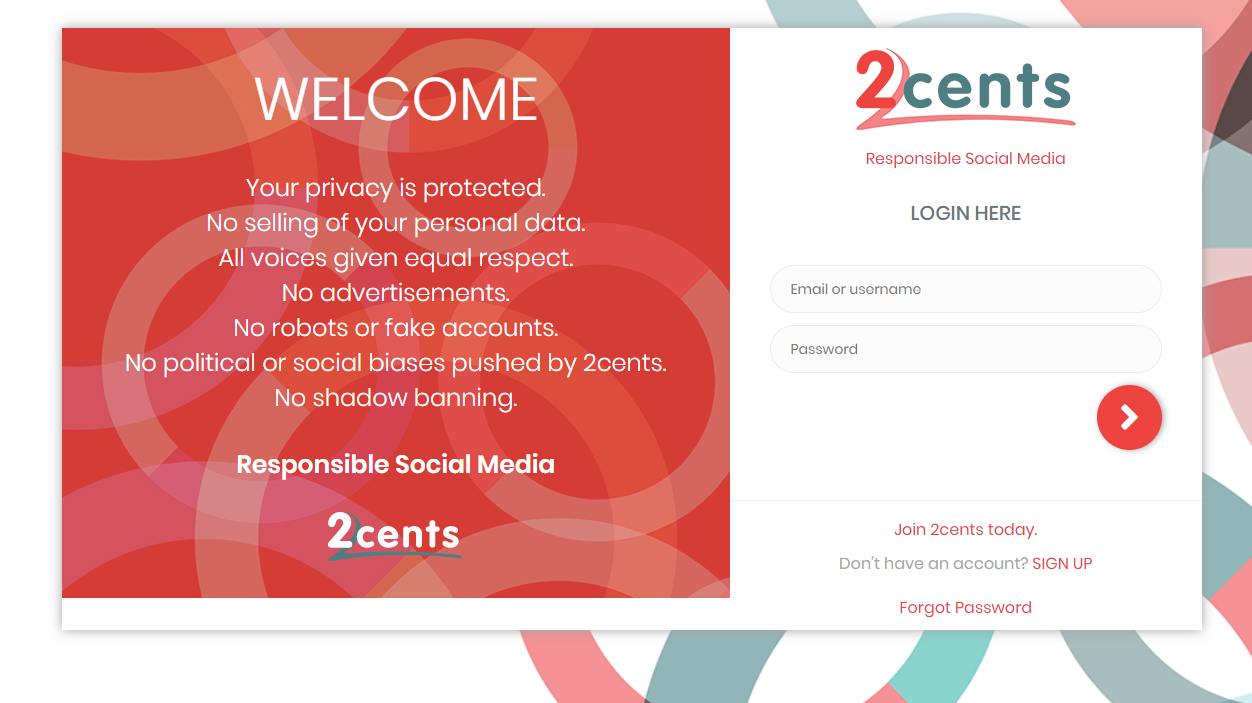 2Cents web application development screen