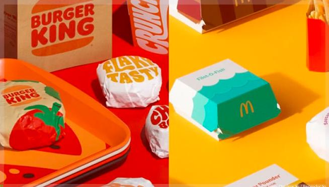 Rebranding de marca do McDonald's e Burger King, com a mudança nas embalagens dos produtos.