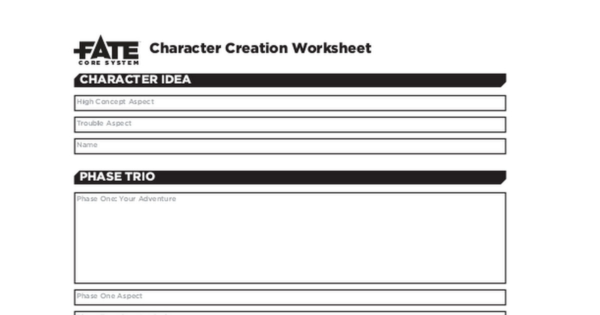 FateCoreCharacterCreationWorksheetFillablepdf Google Drive – Character Creation Worksheet