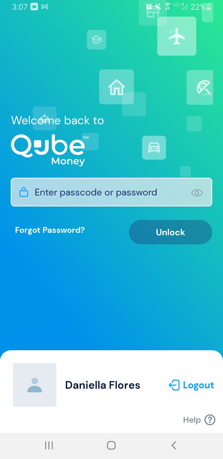qube money review app snapshot showing the secure login screen