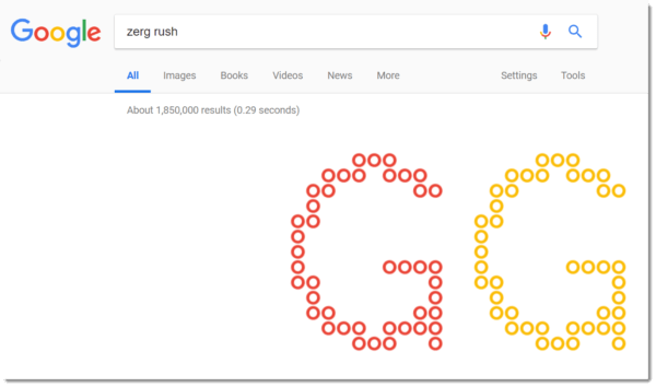 Google Easter egg: zerg rush