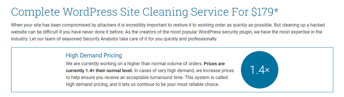 Dịch vụ dọn dẹp trang web Wordfence đi kèm với giá Surge