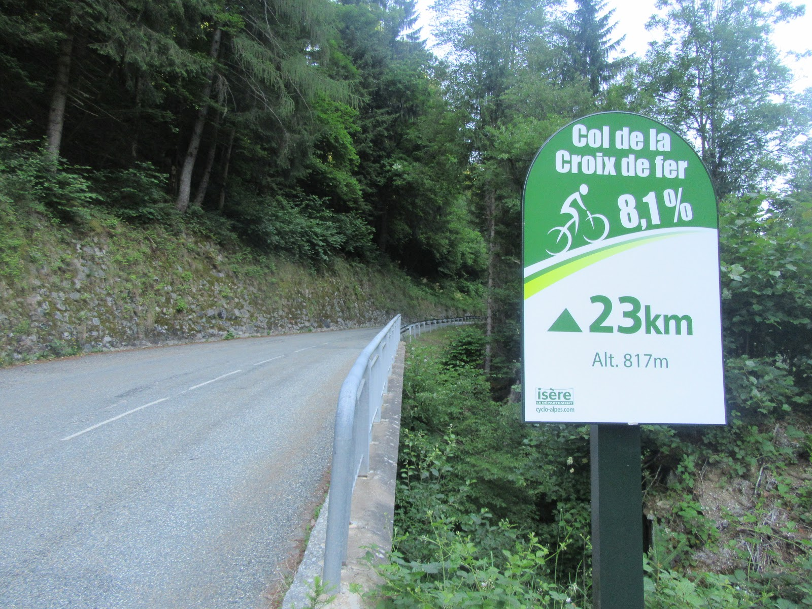 Bike climb of Col de la Croix de Fer, West  - km marker