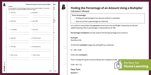 Percentages revision worksheet pack - finding the percentage of an amount