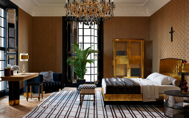Chiếc thảm lụa đen trắng như ngăn cách không gian củachiếc giường ngủ và bàn trang điểm.
