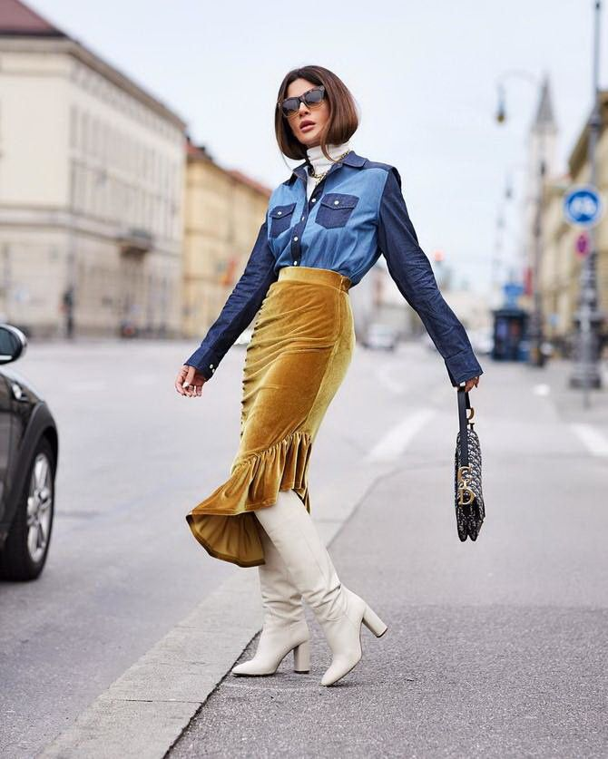 Sweater and a skirt: the most fashionable winter combinations 16