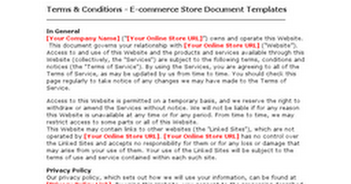Terms condition ecommerce store document templates for Terms and conditions for online store template