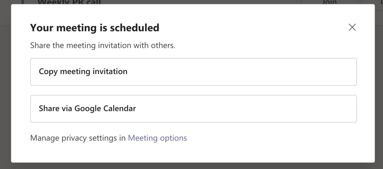 Share the meeting invitation on Microsoft Teams