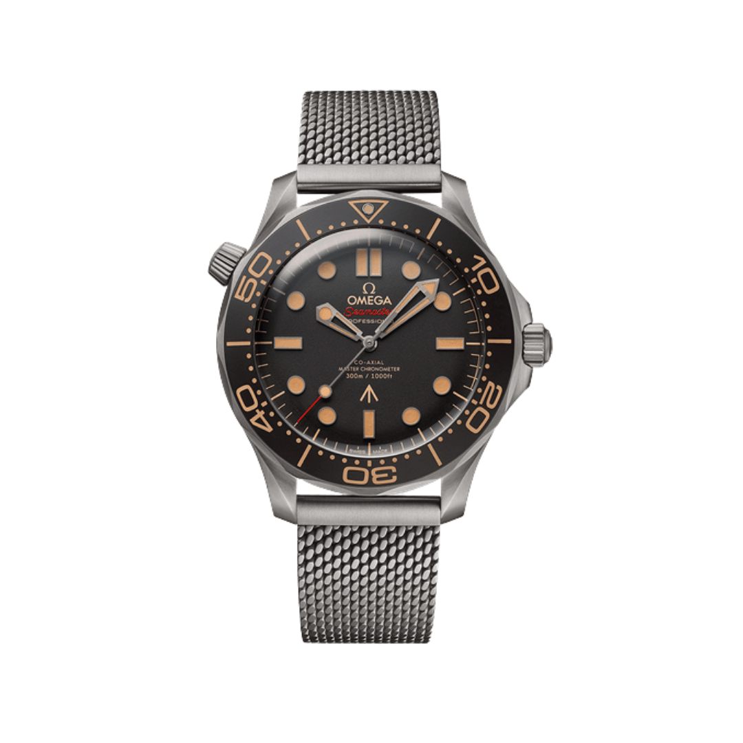 Omega's special edition chronometer for the 007 film; No Time To Die. Made from titanium with a black dial and bezel. With orange hands and indices.