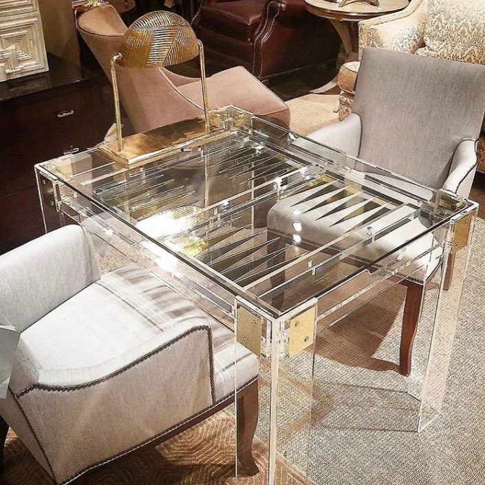 modern lucite backgammon game table
