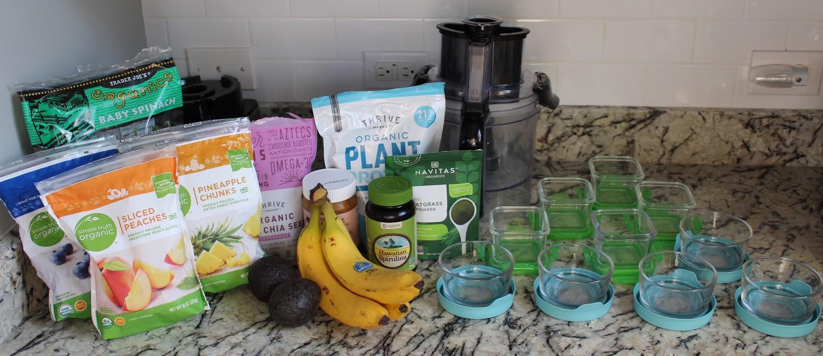 green smoothie prep ingredients