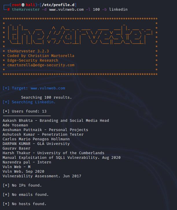 theHarvester example LinkedIn. Source: nudesystems.com