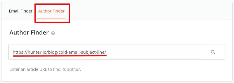 Author Finder URL article URL