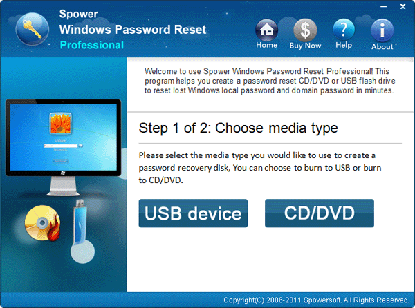 Pick one on the Windows Password Reset selection panel