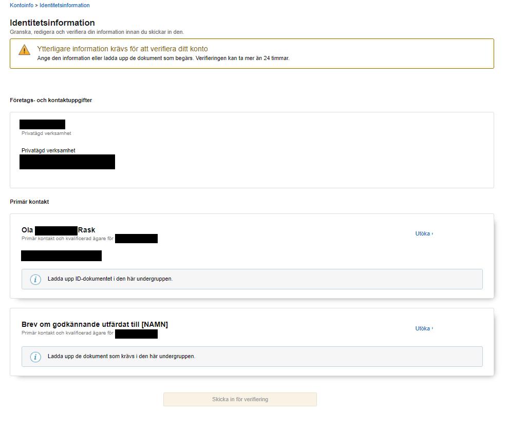 Fyll i identitetsinformation för att bli en verifierad säljare.