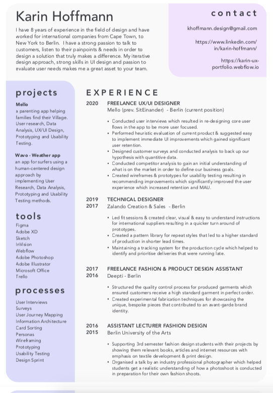 A resumé, with job titles laid out in chronological order, with the name Karin Hoffmann at the top.