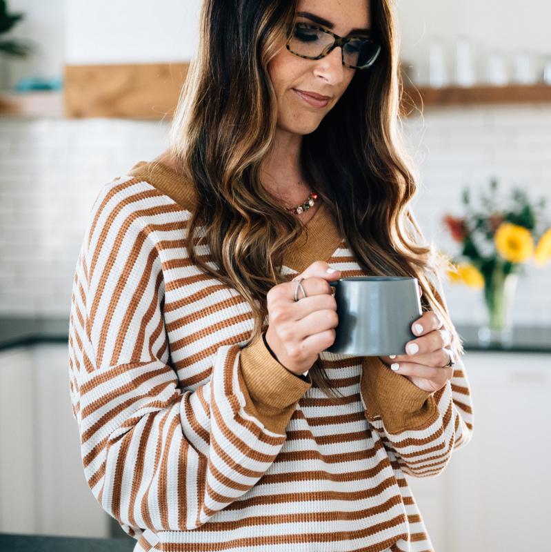 Mustard Stripe V-Neck Pullover