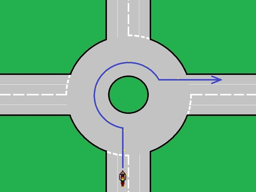 roundabout turn right