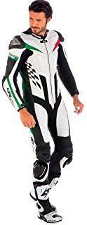 Spyke mono de piel para moto hombres 4Race Rac (60, Blanco/Negro/Verde/Rojo)