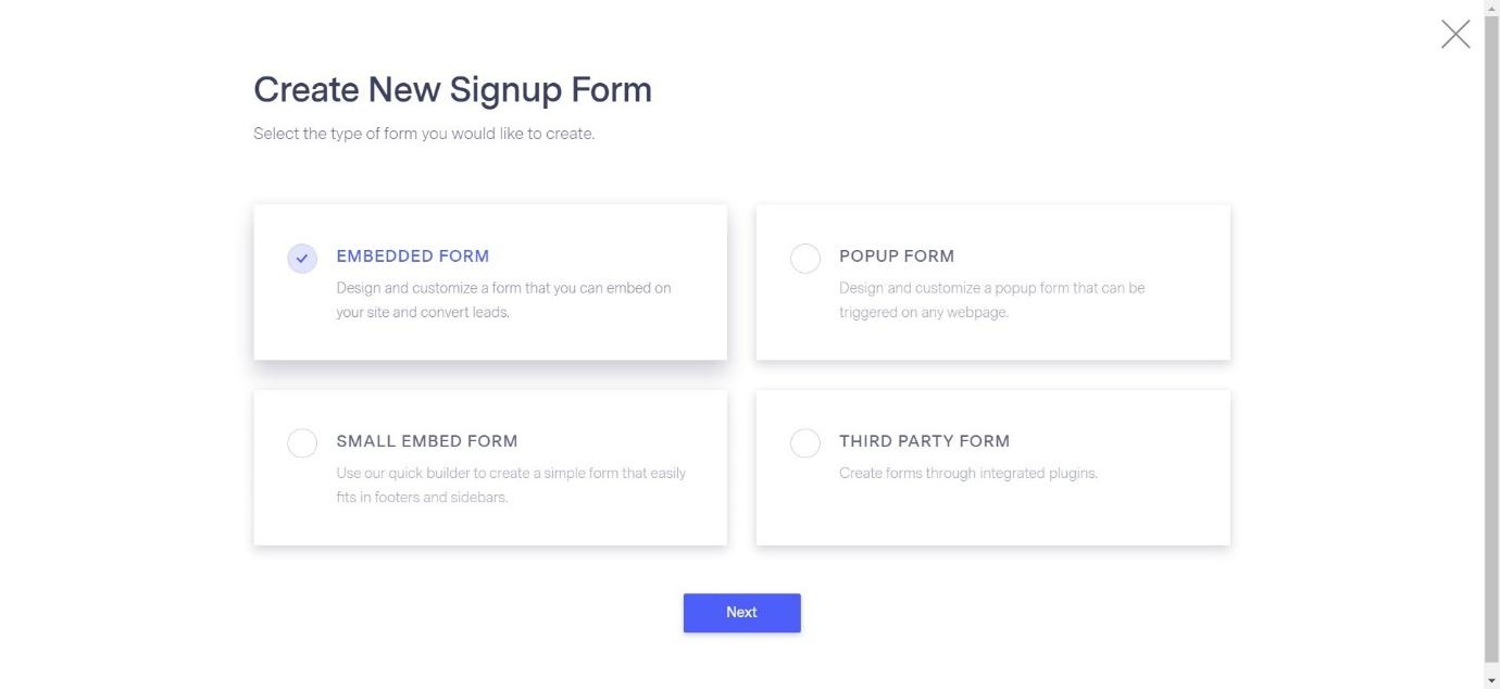 Create New Signup Form in Benchmark