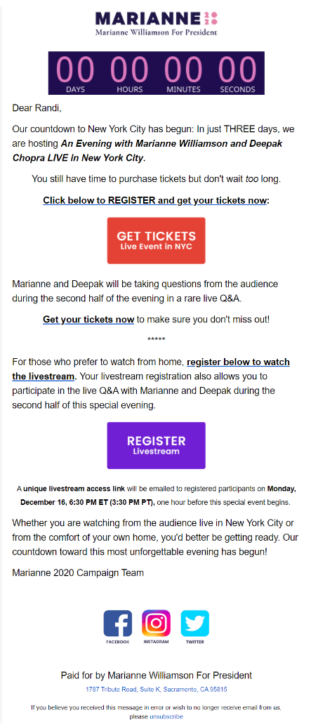 Marianne Williamson campaign email example