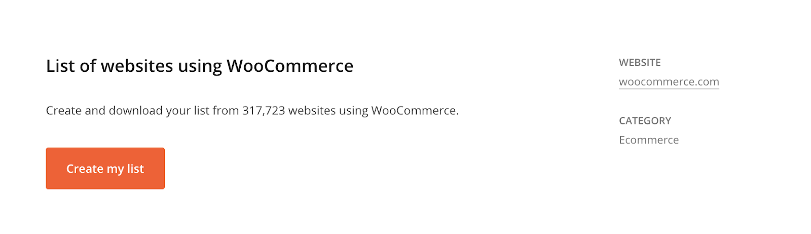 Hunter TechLookup, list of ecommerce technologies