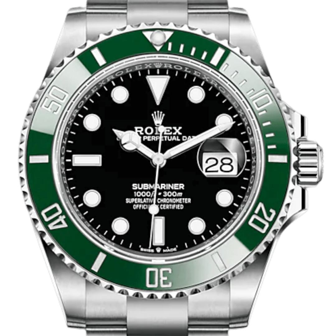 Rolex Submariner watch featuring arrow markers