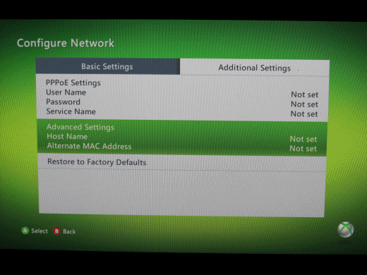 XBox 360 Additional Settings Screen