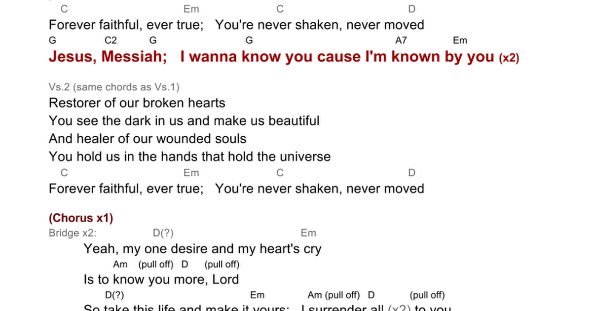 To Know You Jesus Messiah Lyrics And Chords Google Docs