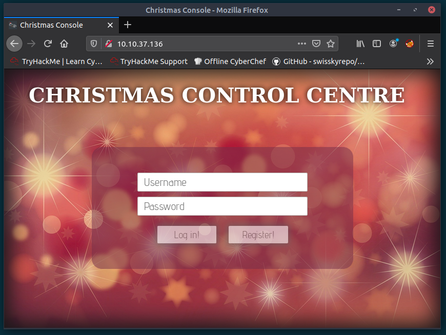 Screenshot of Christmas Control Centre logon page, showing username and password fields along with Log In! and Register! buttons