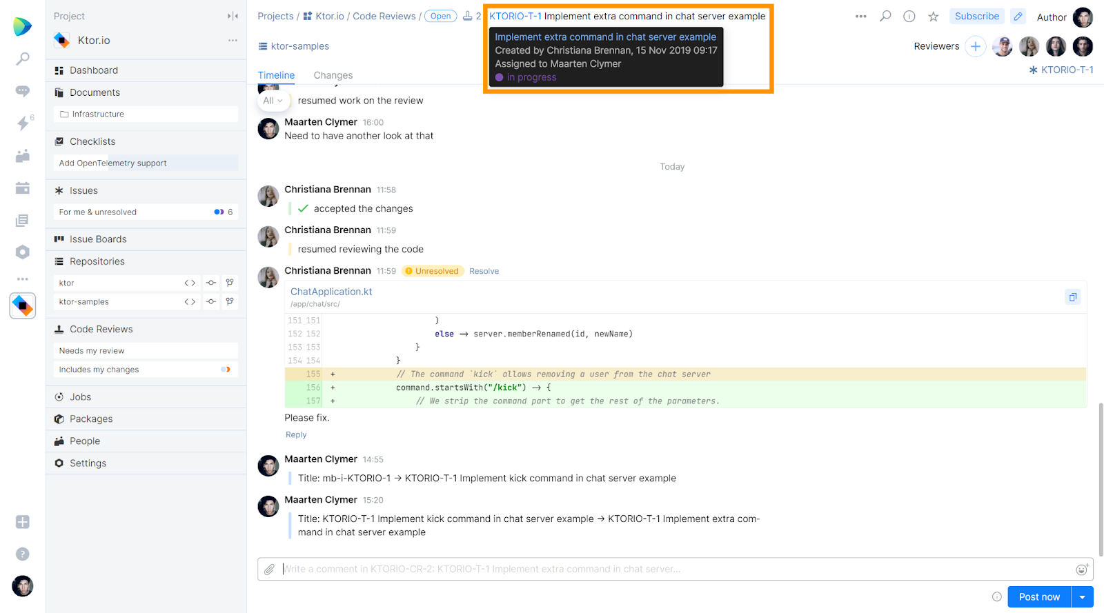 Keep track of code changes in Space issues by hovering over the issue ID