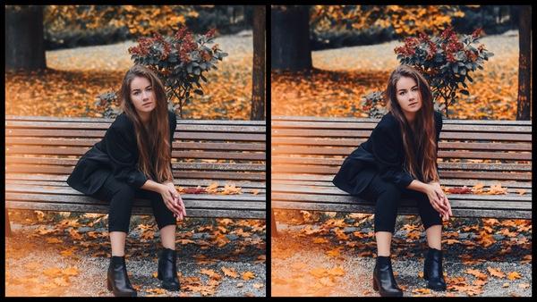 Montagem de uma mulher sentada em um banco, em um dia de outono mostrando a ferramenta Autumn do AirBrush.