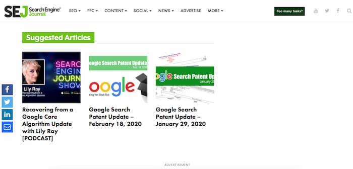 Ví dụ về cách Tạp chí Công cụ Tìm kiếm đề xuất các bài viết liên quan sau mỗi bài báo của họ
