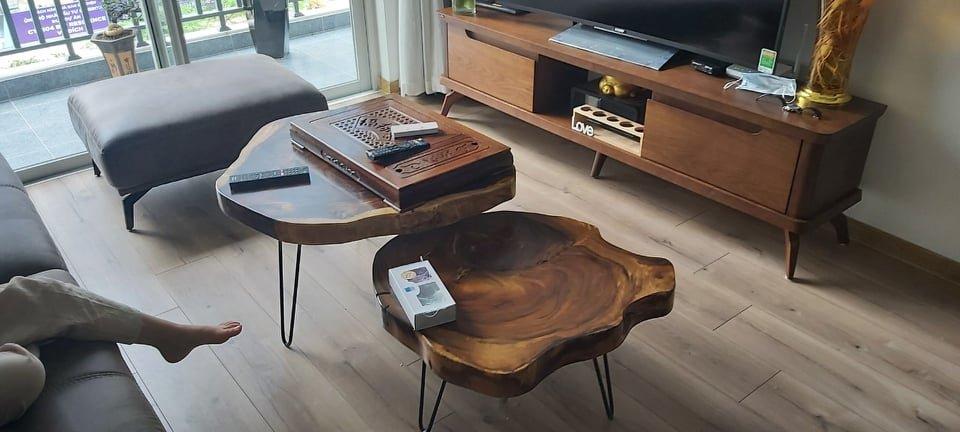 Mẫu bàn trà gỗ me tây tròn cao