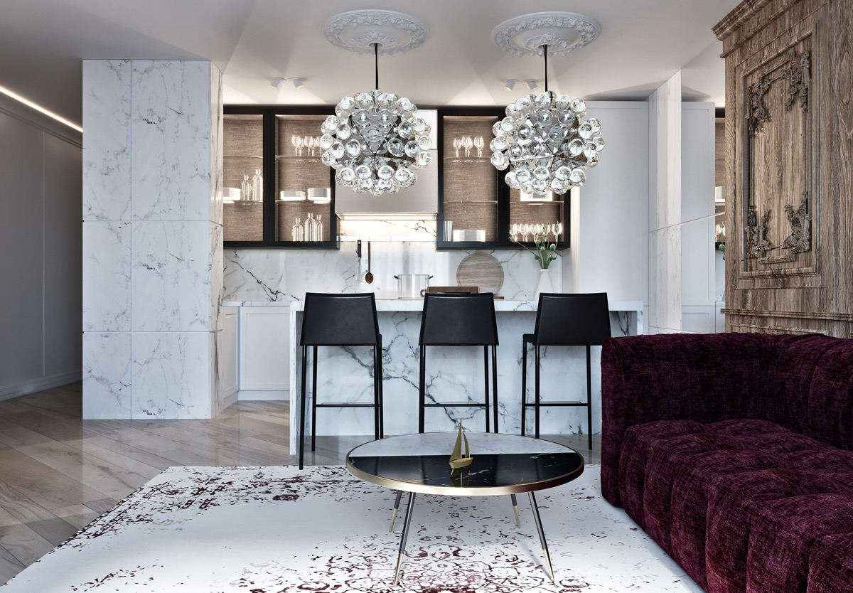 Mẫu phòng khách liên thông phòng bếp theo phong cách tân cổ điển