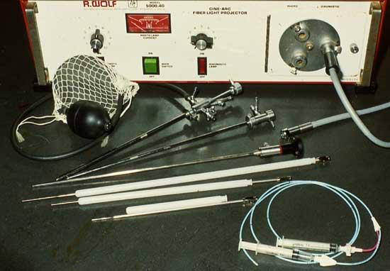 Equipo de vaginoscopía canina incluyendo una fuente de luz y un cable de fibras ópticas, un telescopio de 3 mm de diámetro, una selección de fundas histeroscópicas de 5 y 6 mm, y un bulbo de goma para insuflación con aire
