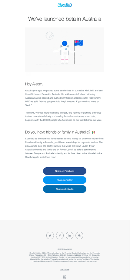 "Revolut ""We've launched beta in Australia"" banking email template"