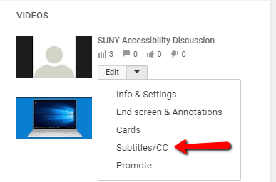 YouTube Creator Studio edit menu with an arrow highlighting the Subtitles/CC option.