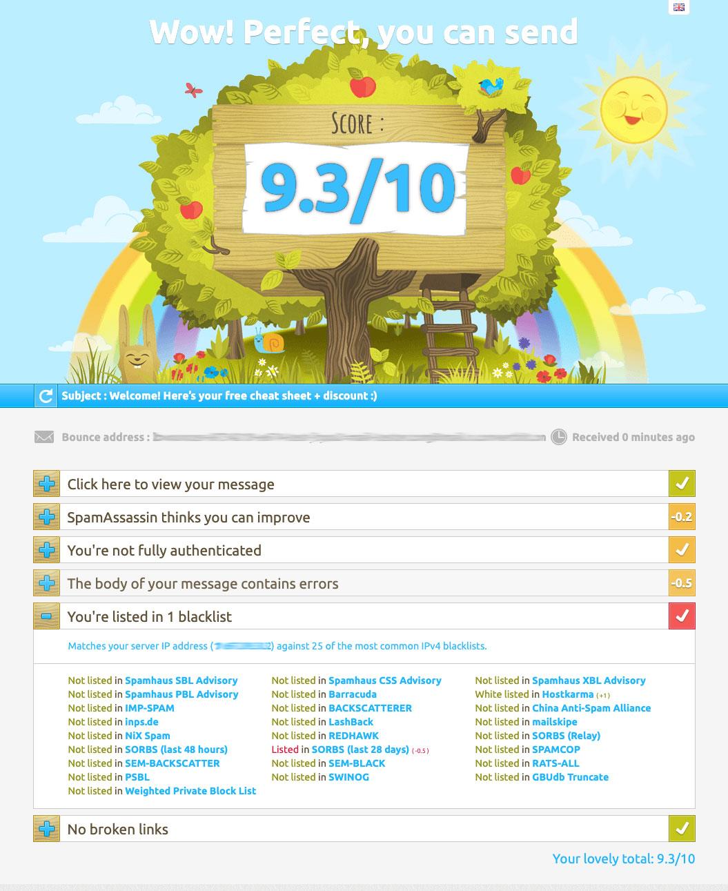 mail-tester.com high score.