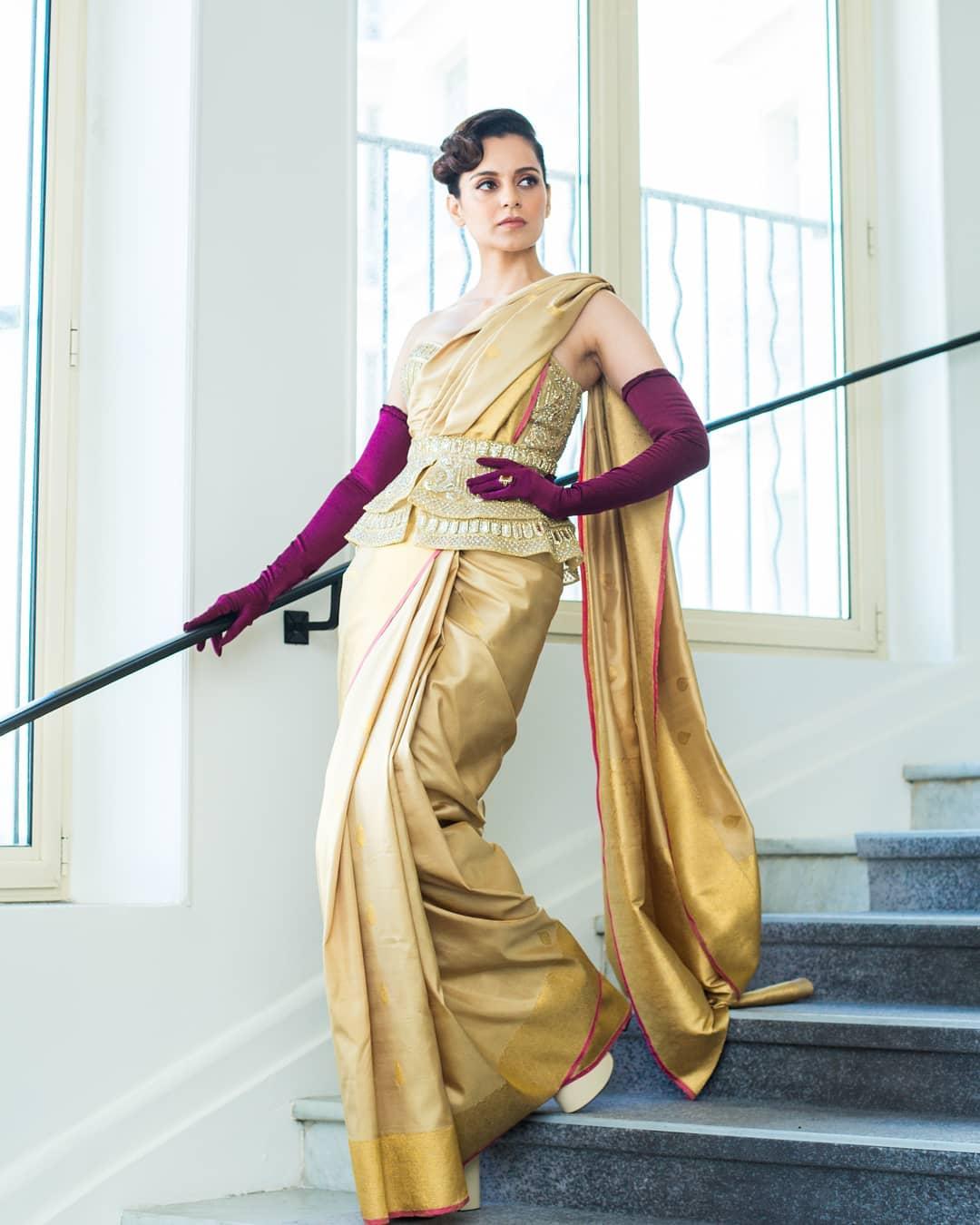 Kangana Ranaut Cannes 2019 | Kangana Ranaut Kanjeevaram Saree