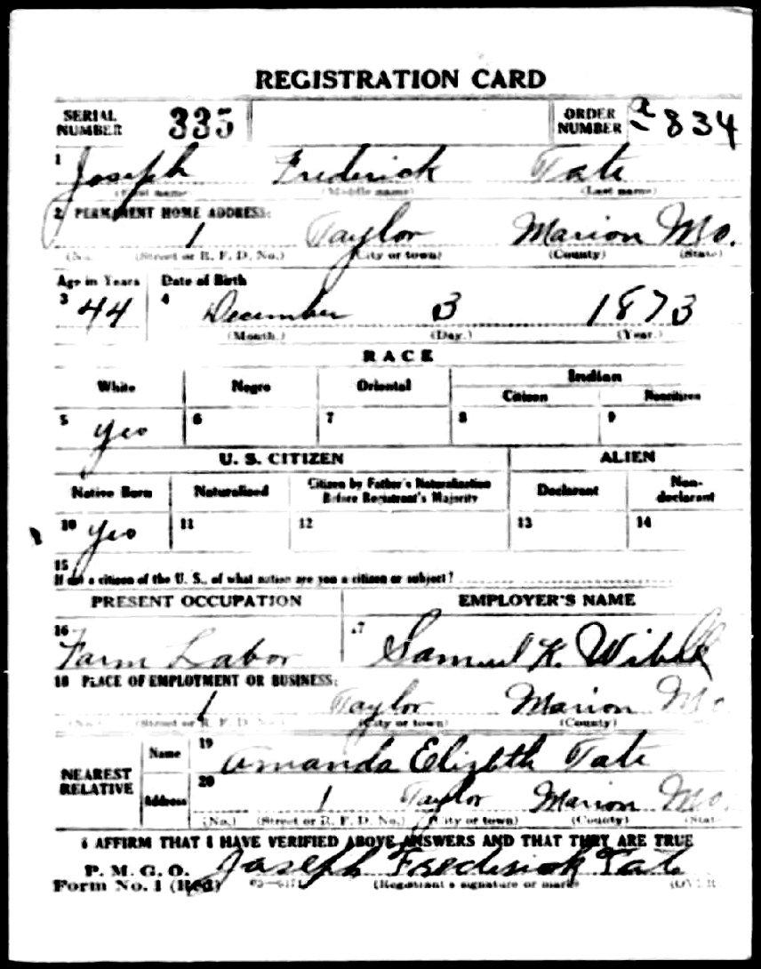 Joseph Frederick Tate Draft Card front.jpg