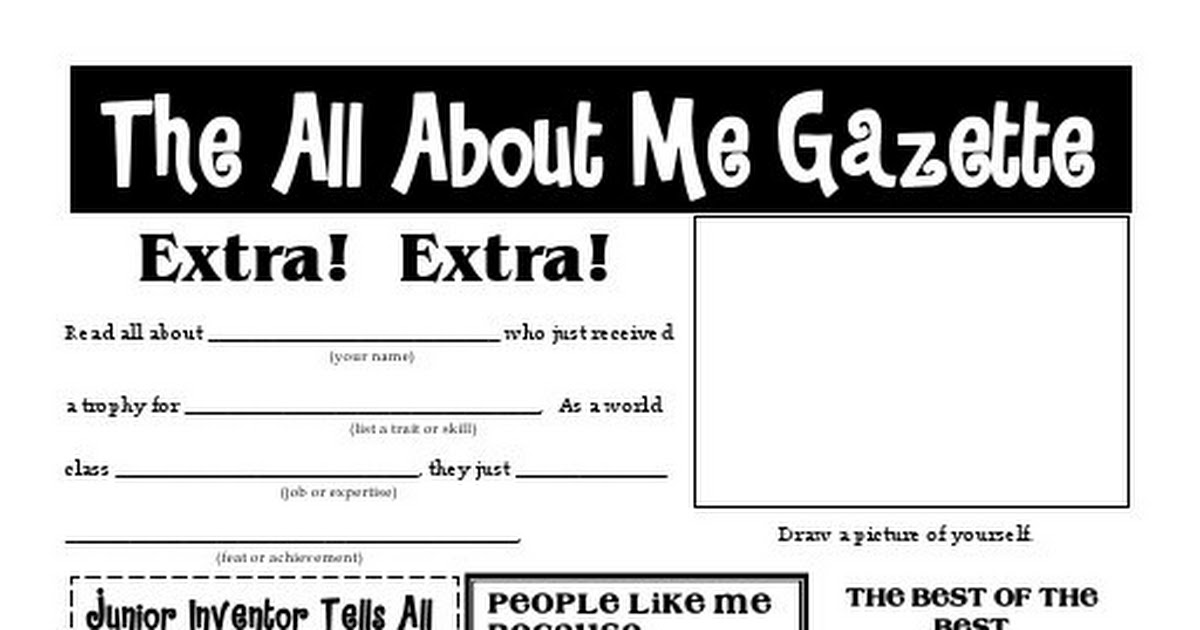 All About Me Newspaper Worksheet Choice Image Worksheet For Kids