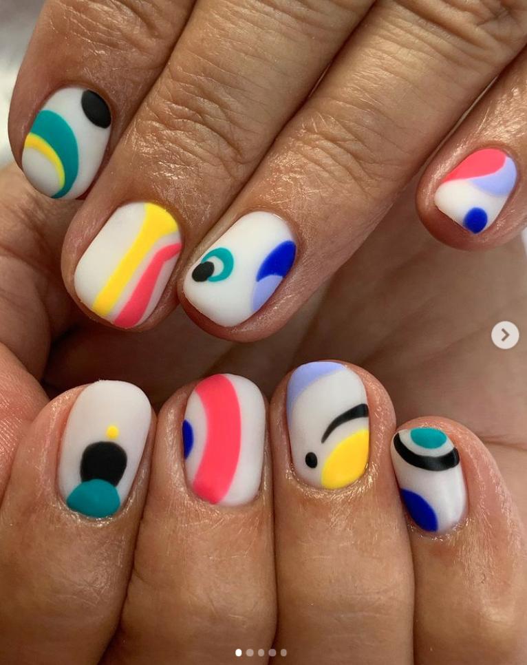 swirly color pop nail art