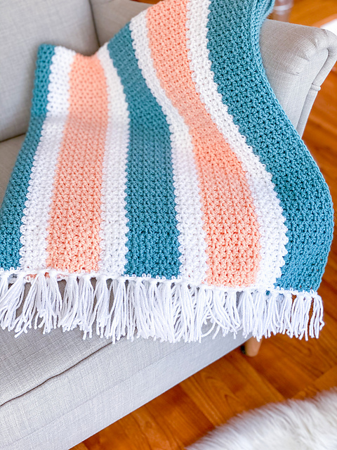 summer stripes blanket simple crochet pattern